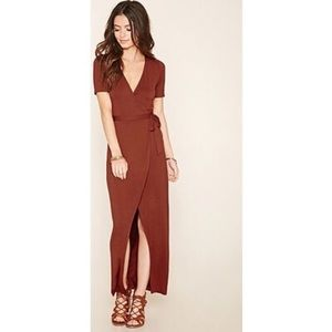 F21 Wrap Maxi Dress Front Tie Rust